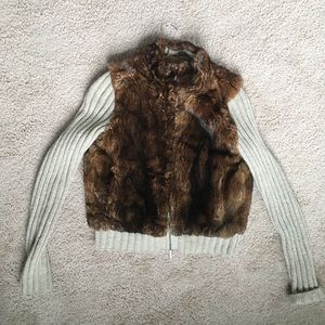 TSE Fur and Cashmere Zip-Up Sweater